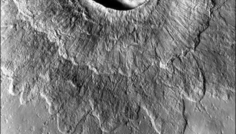 Cráter doble de Marte