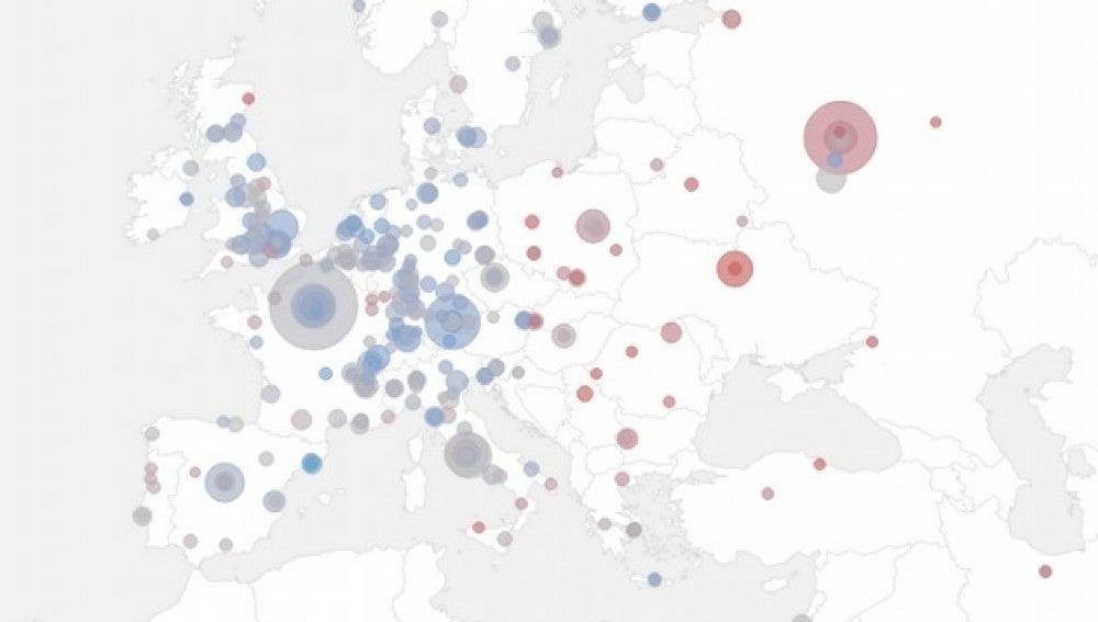 Mapa de la excelencia científica en Europa
