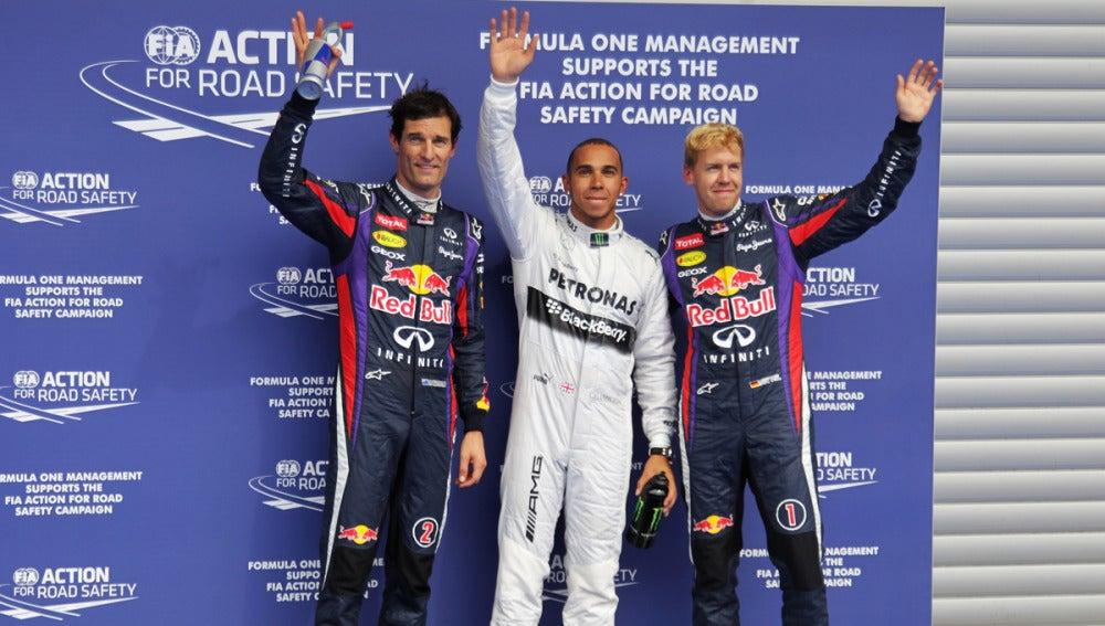 Hamilton, Vettel y Webber en Bélgica