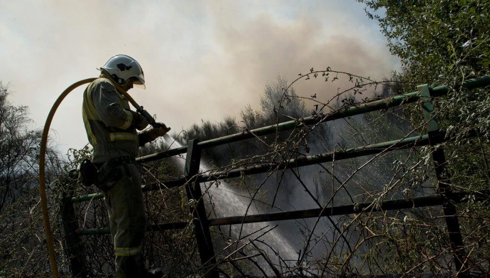Un brigadista lucha contra el fuego en el incendio registrado en el muinicipio orensano de Cualedro