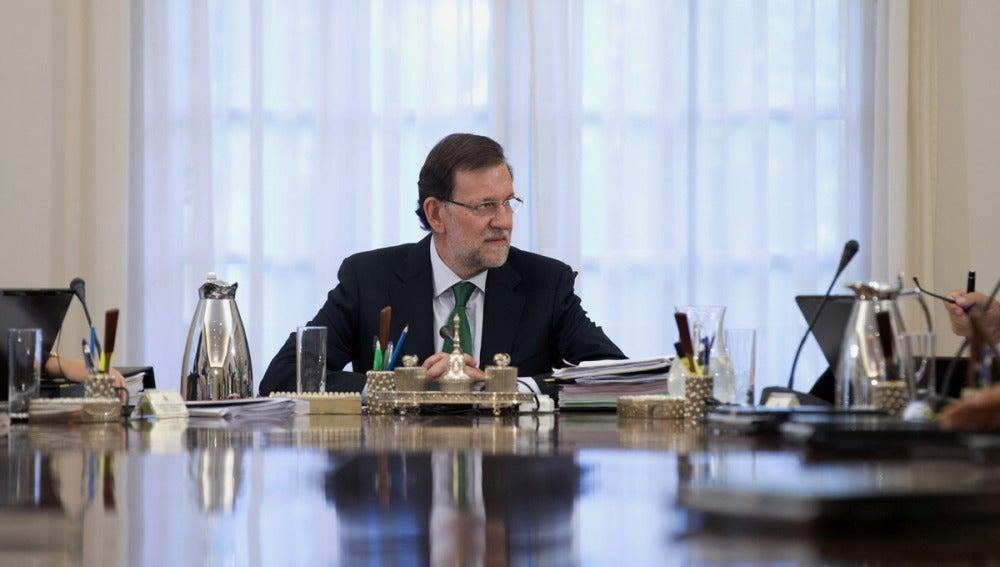 Rajoy presidiendo la primera reunión del Consejo de Ministros tras las vacaciones.