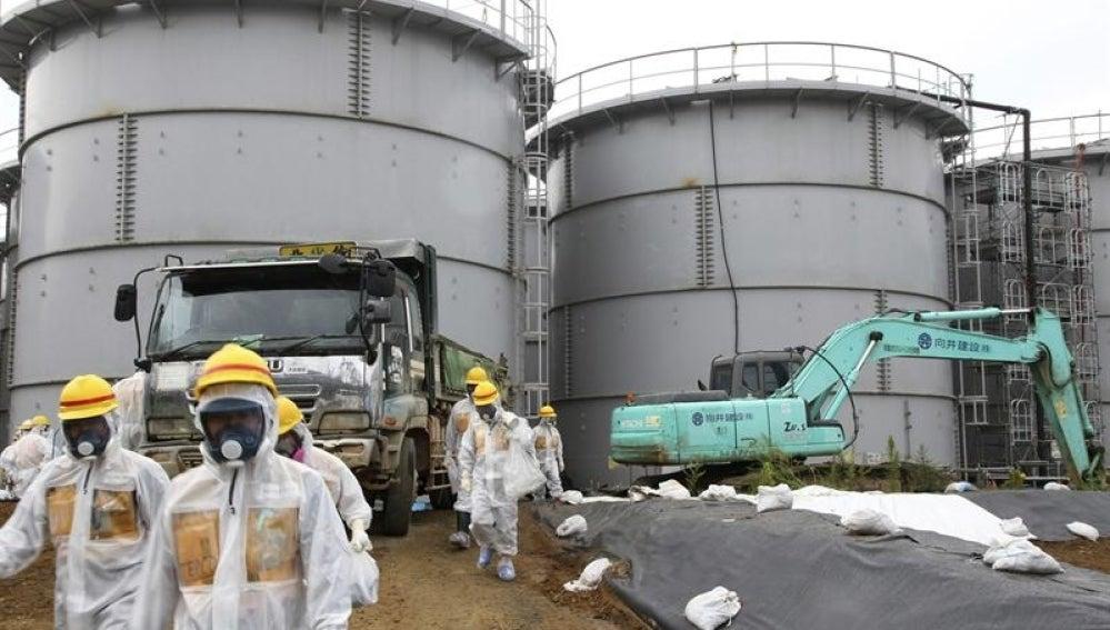 Operarios trabajando en las tareas de descontaminación