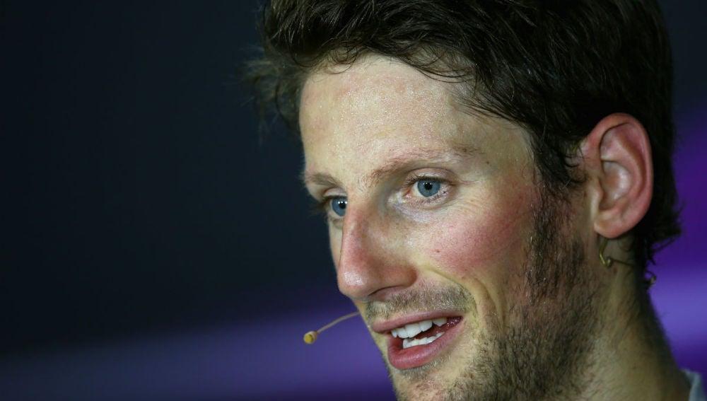 Grosjean, en rueda de prensa