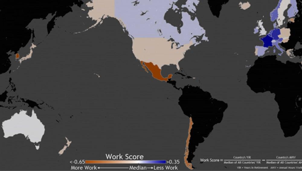 Clasificación de los países en función de las horas de trabajo