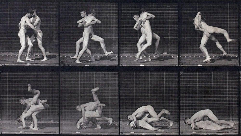 La obra 'Lucha de dos hombres desnudos'