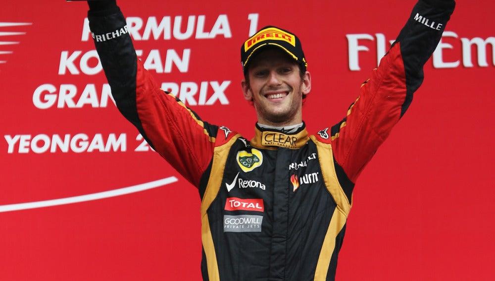 Grosjean, en el podio de Corea