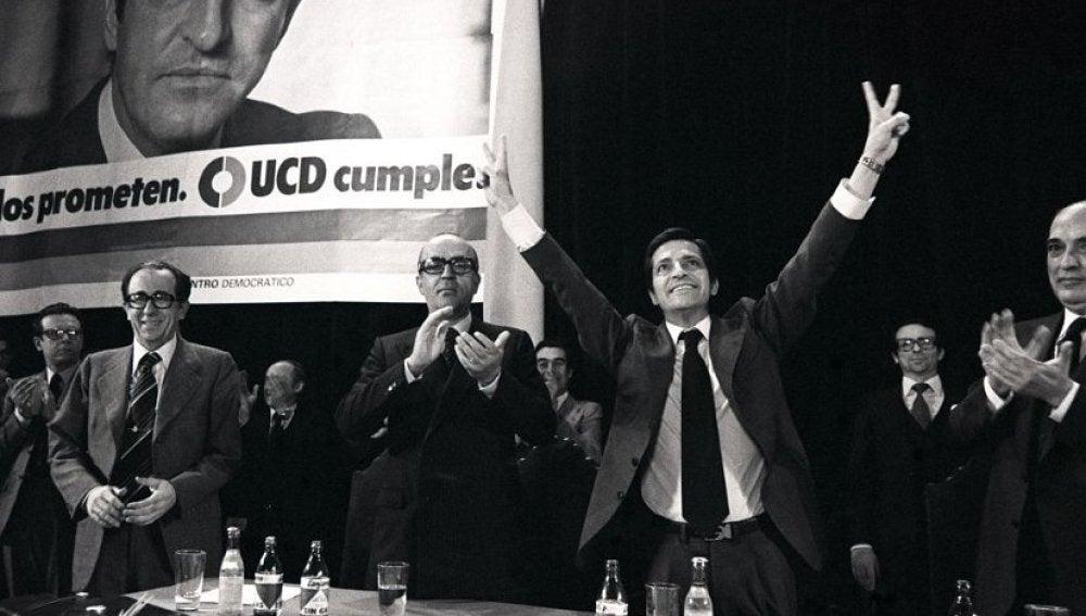 Adolfo Suárez en un acto de UCD