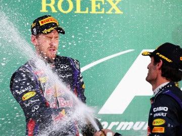 Webber y Vettel, en el podio