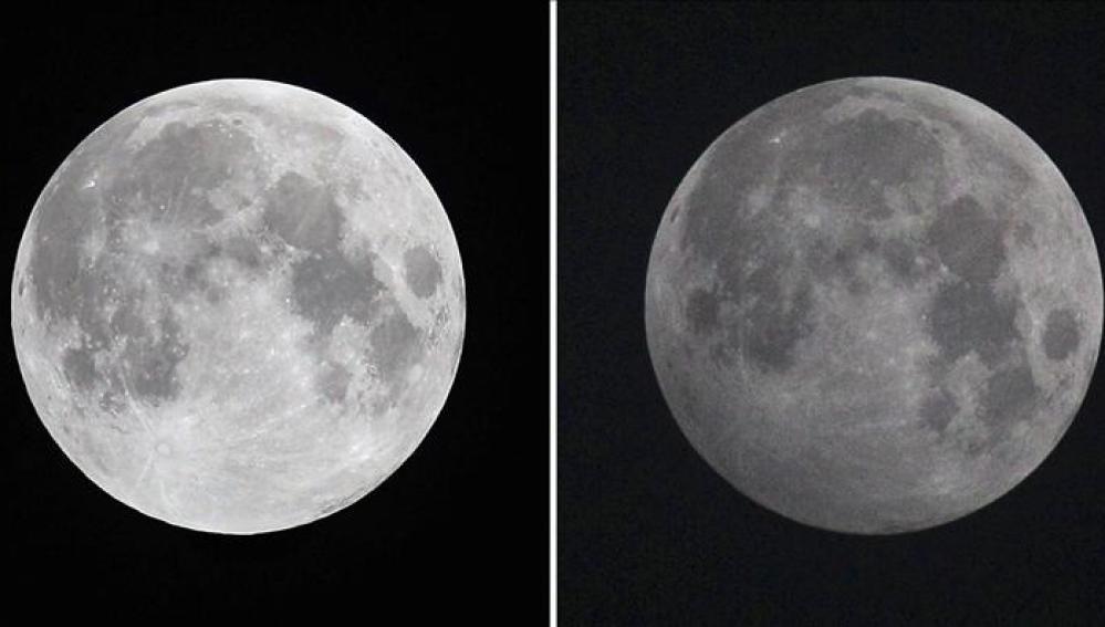 Imagen de un eclipse lunar, a la izquierda, comparado con el eclipse de este viernes, a la derecha