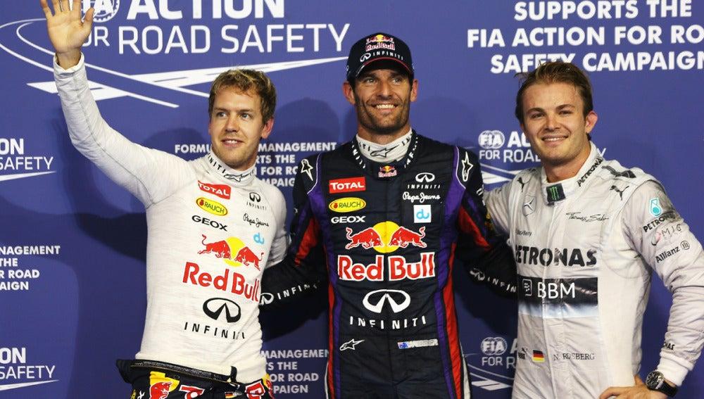 Webber, Vettel y Rosberg tras la clasificación