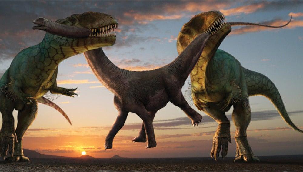 Dos dinosaurios pelean por una presa