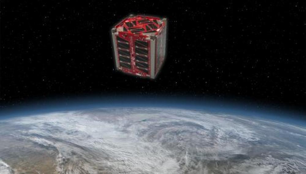 Recreación del satélite en órbita diseñado por estudiantes