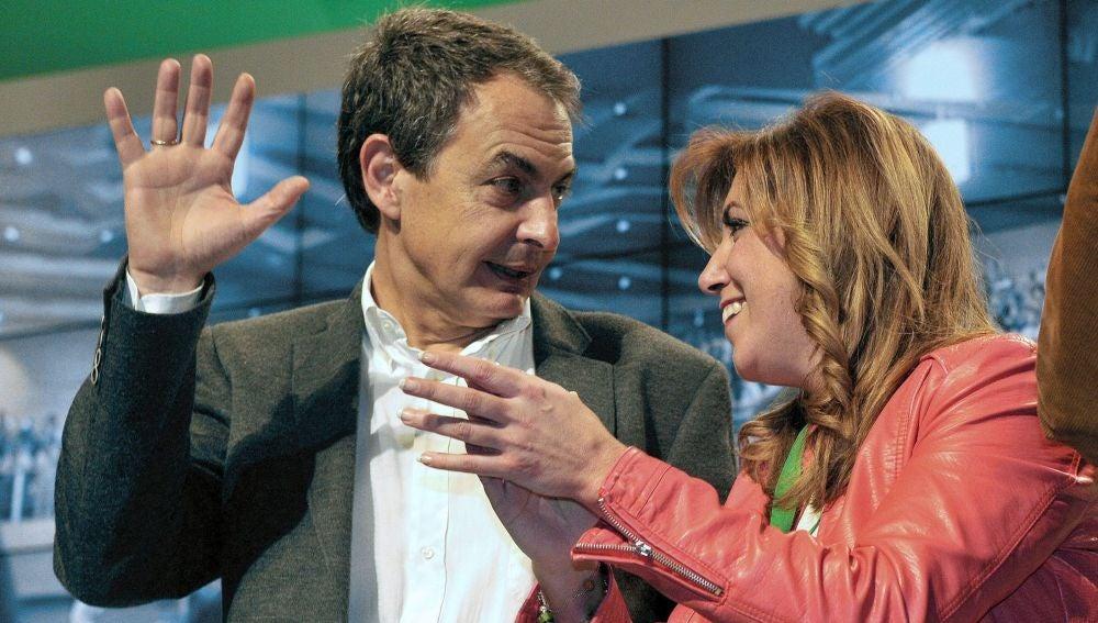 José Luis Rodríguez Zapatero junto a Susana Díaz en el congreso del PSOE-A