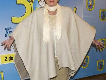 La actriz Lina Morgan en la cena benéfica organizada con motivo del 50º aniversario de 'Mensajeros por la Paz'