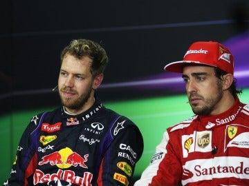 Vettel y Alonso en rueda de prensa