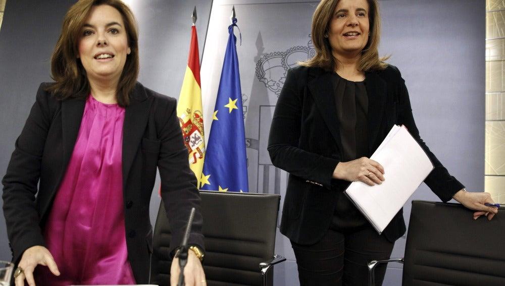 Soraya Sáenz de Santamaría y Fátima Báñez