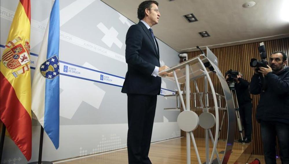 Alberto Núñez Feijóo durante la rueda de prensa