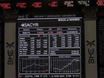 Monitor de la bolsa de Madrid.