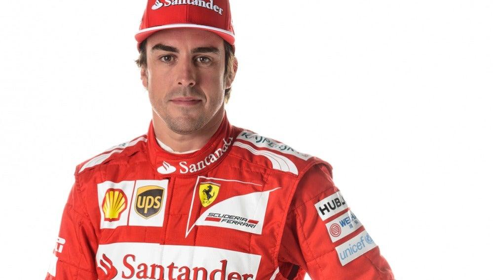 Fernando Alonso, con el mono de 2014