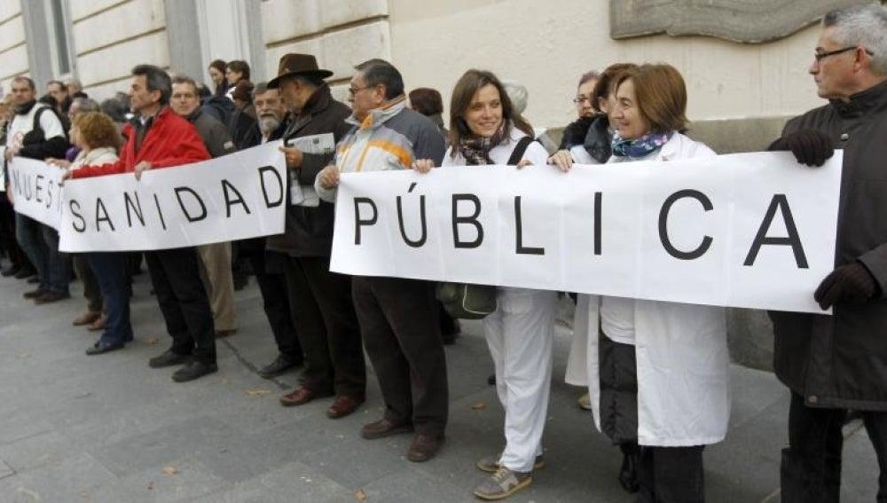 Manifestaciones en defensa de la sanidad pública.
