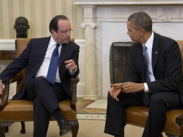 Obama y Hollande durante la reunión mantenida en el Despacho Oval de la Casa Blanca.