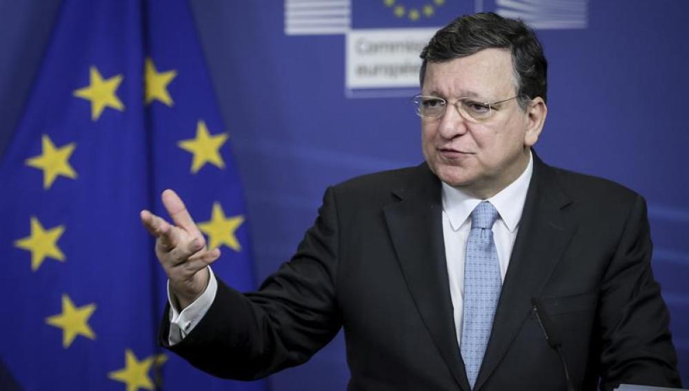 Barroso en la rueda de prensa en la sede de la Comisión Europea CE en Bruselas