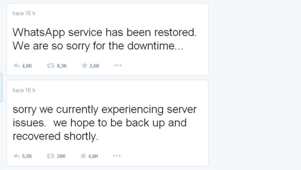 Mensaje de disculpa de Whatsapp por Twitter
