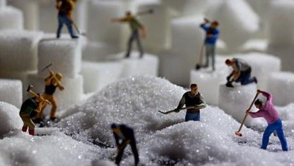 Los obreros amontonan azúcar