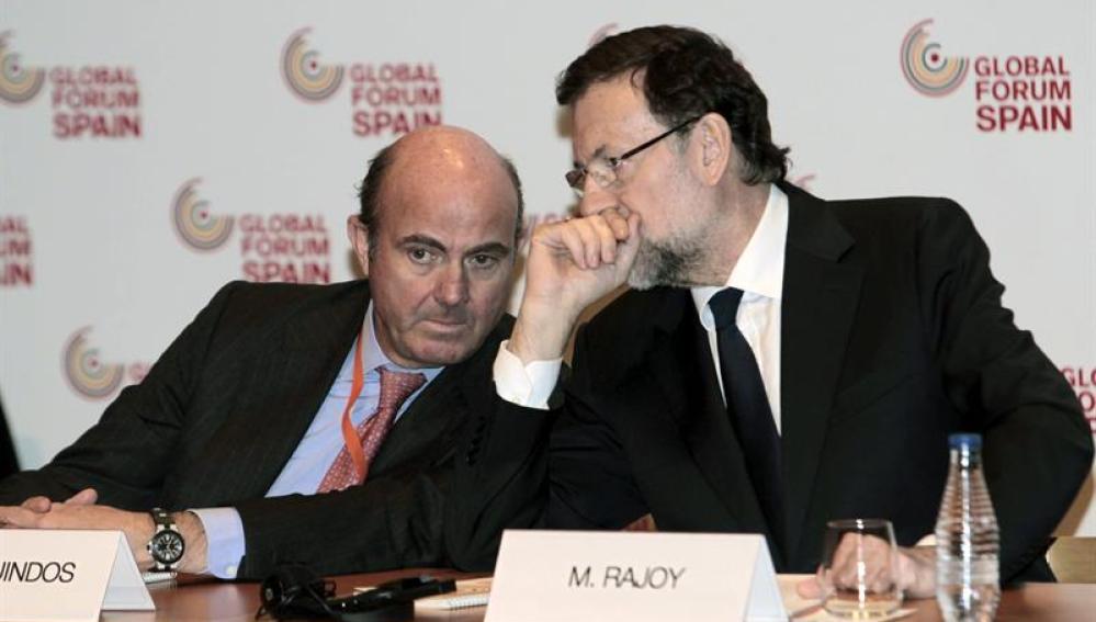 Mariano Rajoy y Luis de Guindos en Bilbao