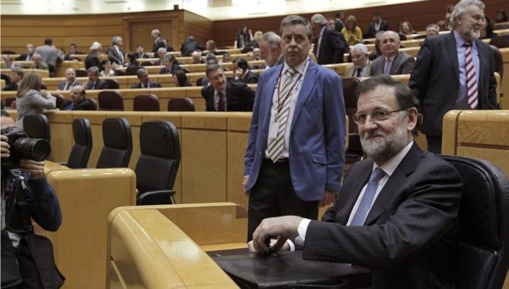 Mariano Rajoy, durante la sesión de control al Ejecutivo en el Senado
