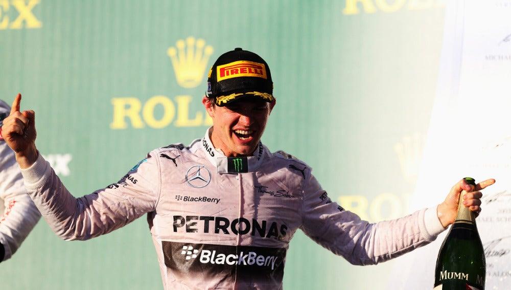 Nico Rosberg celebra la victoria en Australia