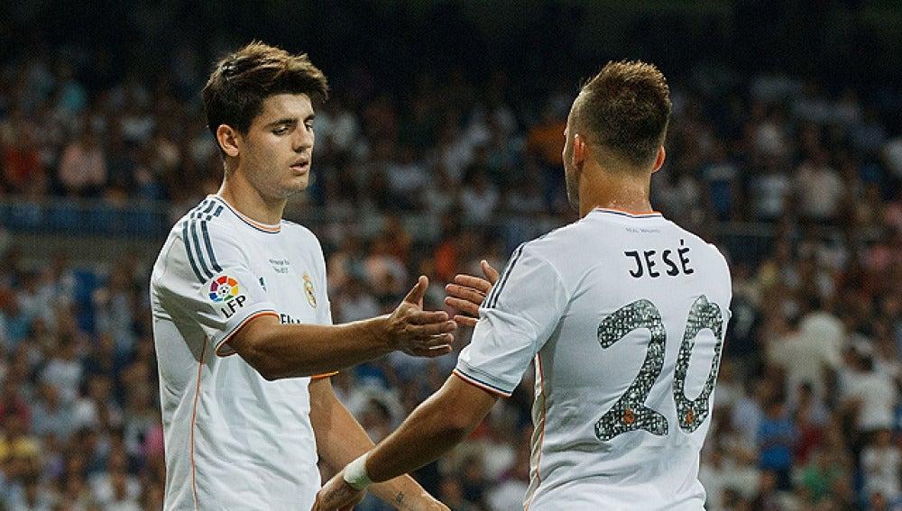 Jesé y Morata, durante un partido con el Madrid
