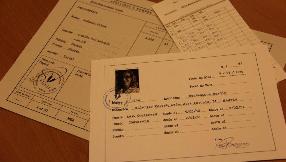 Documentos personales de Rita