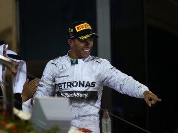 Hamilton, en el podio