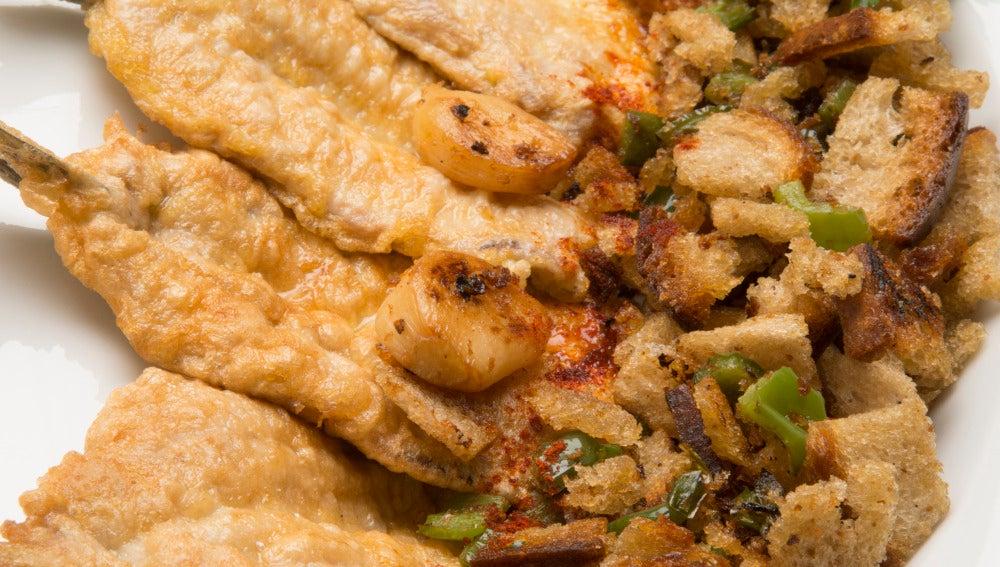 Sardinas rebozadas con pan frito