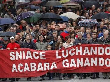 Manifestación de los trabajadores de Sniace