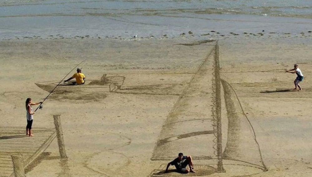Escena acuática sobre la arena