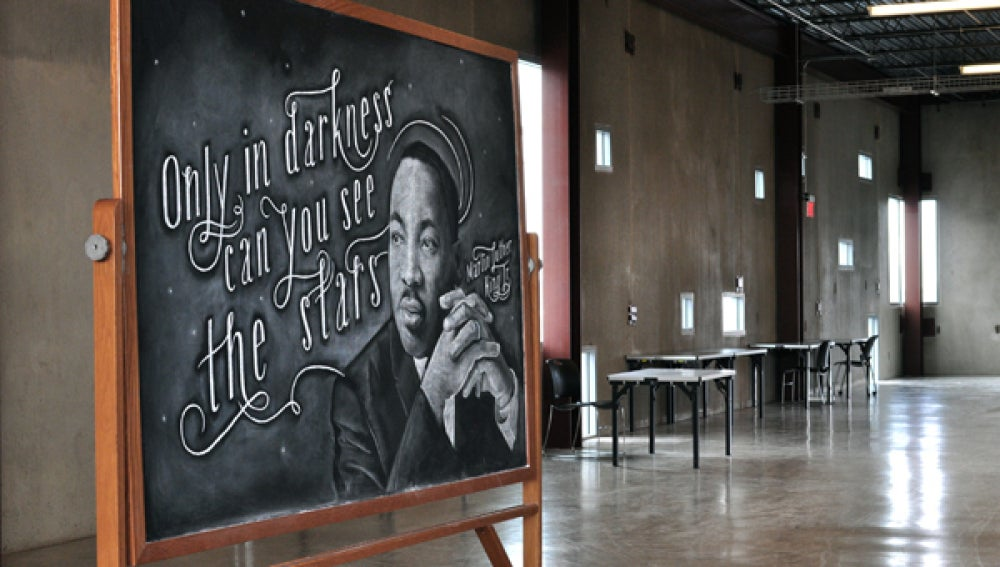Pizarra con una frase de Martin Luther King