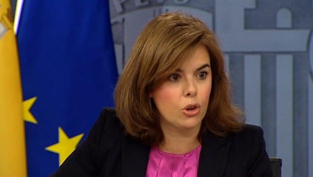 Sáenz de Santamaría en la rueda de prensa del Consejo de Ministros