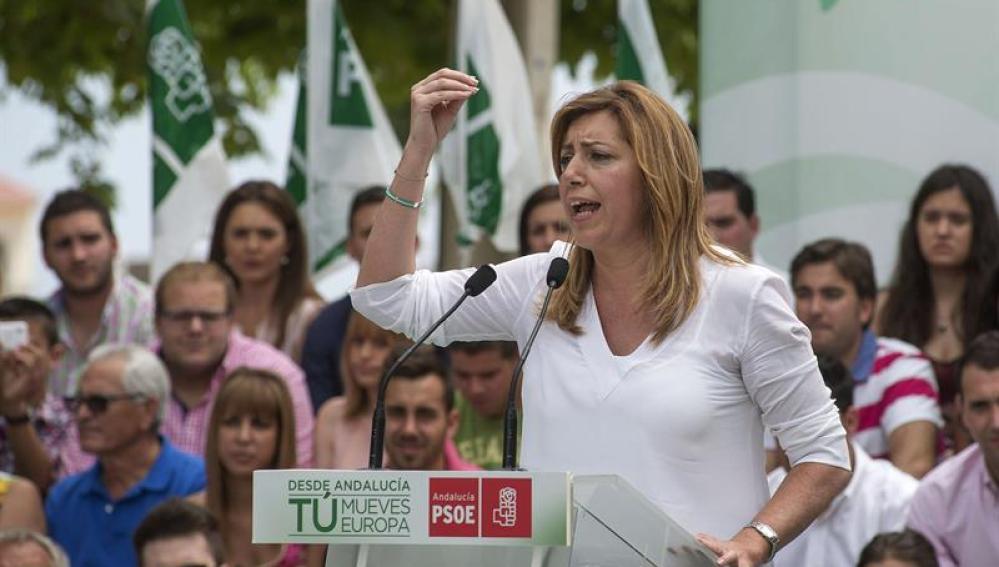 Susana Díaz en un mitin en Andalucía