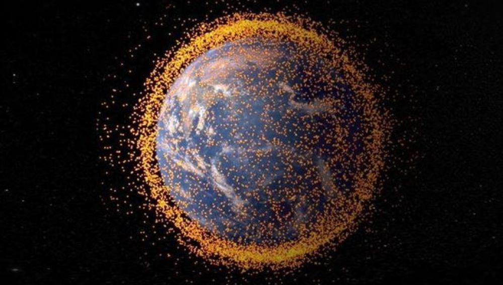 Recreación de la basura espacial que rodea la tierra