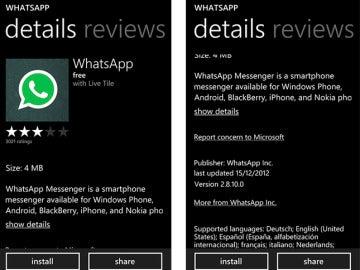 Whatsapp en la tienda de Windows Phone