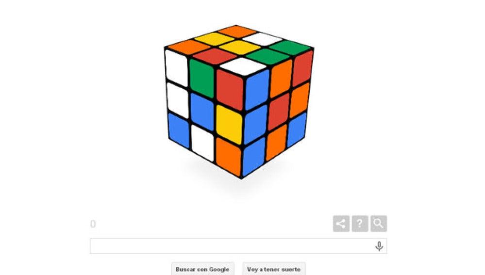 Doodle de Google del cubo de rubik.