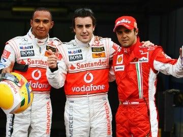 Hamilton, Alonso y Massa en 2010