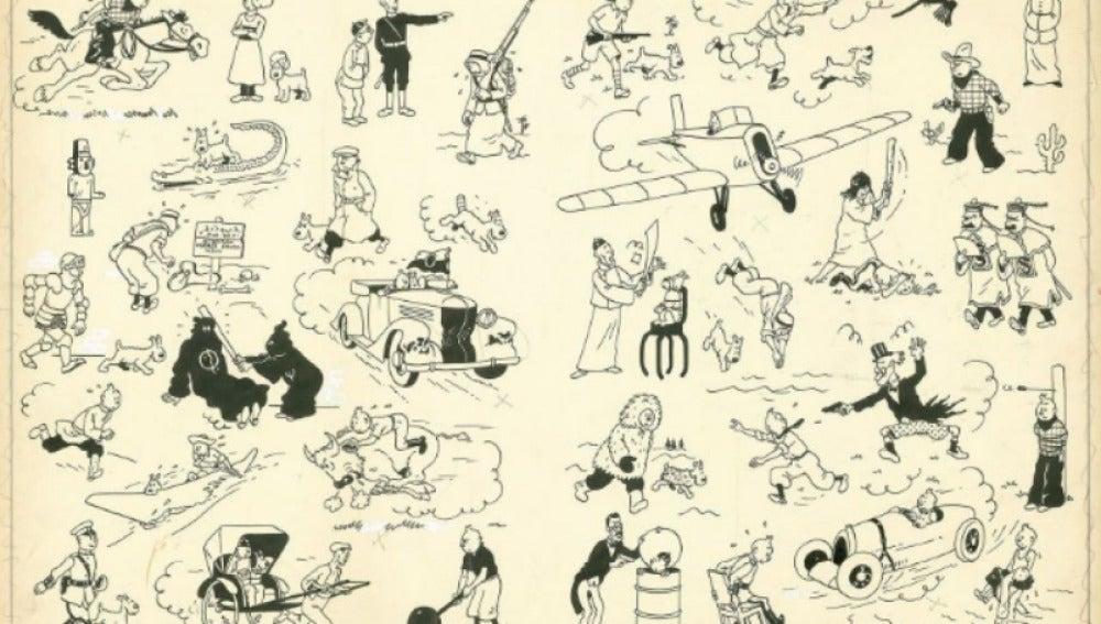 Plancha de Tintín de 1937