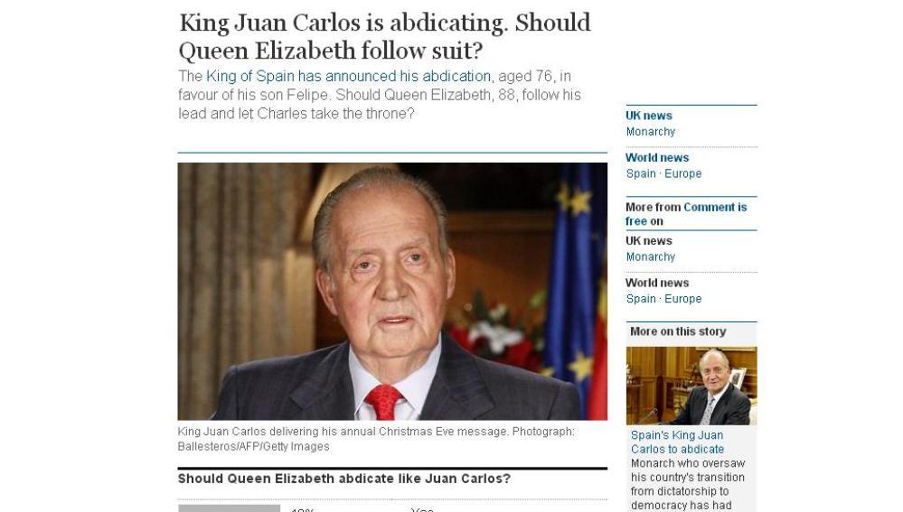 Encuesta The Guardian sobre si Isabel II debería abdicar