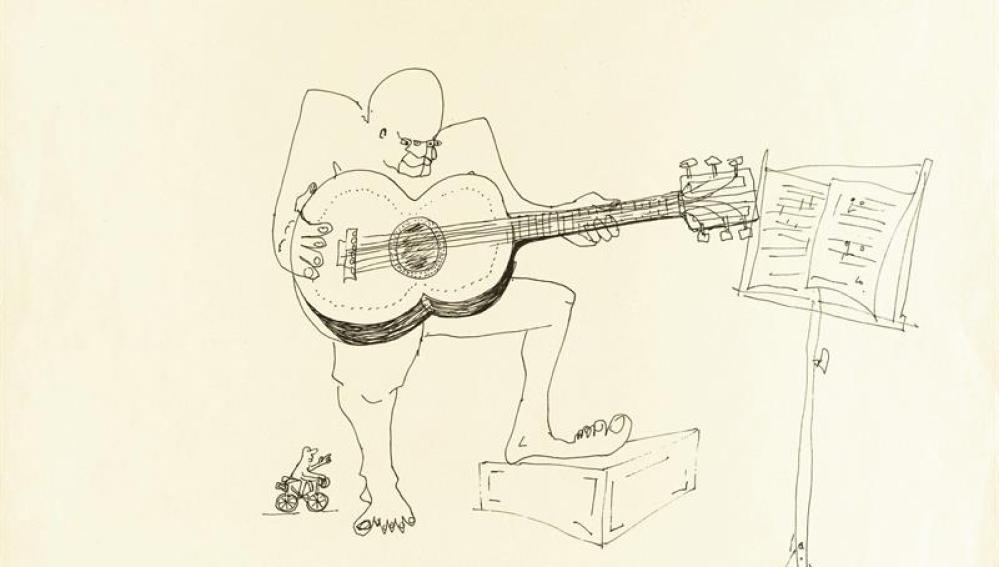 Dibujo de John Lennon de un guitarrista con 4 ojos a tinta.