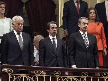 Los expresidentes González, Aznar y Zapatero