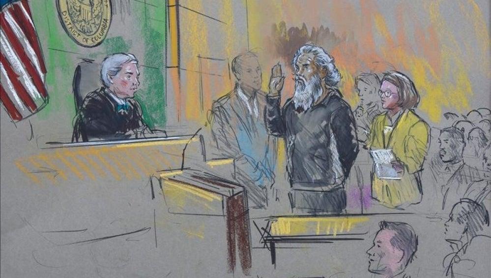 Un dibujo de la audiencia judicial de Ahmed Abu Khattala