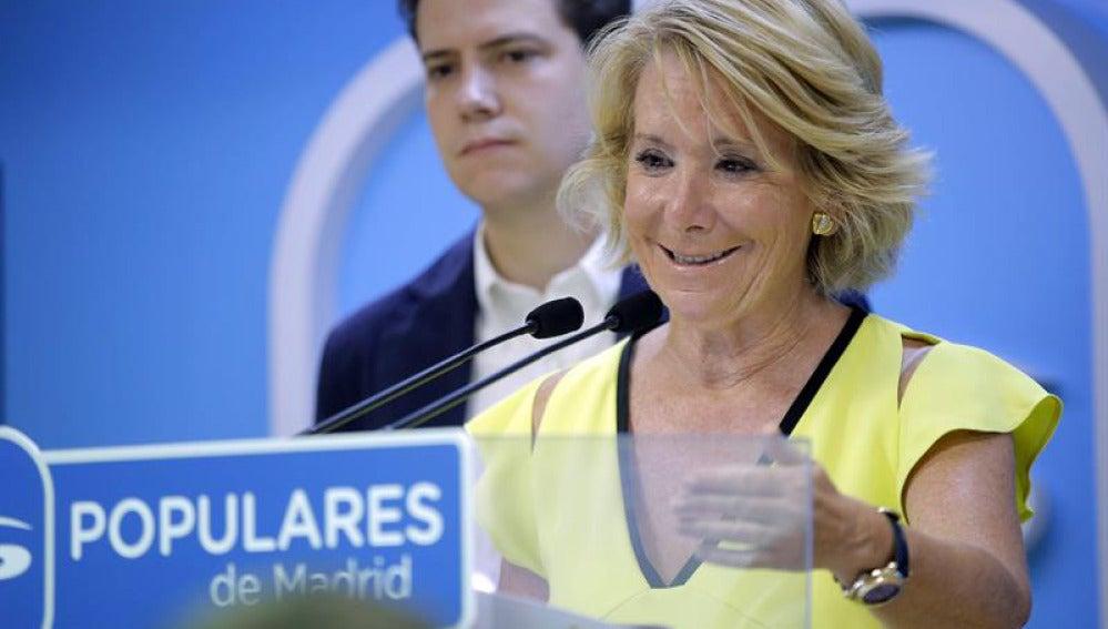 Esperanza Aguirre en rueda de prensa.